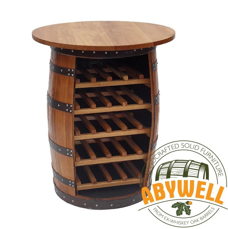 Wine Rack Drink Cabinet Table Handcrafted Solid Oak Barrel